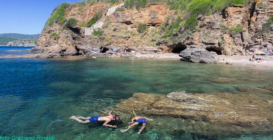 Spiaggia Elba Felciaio due sub